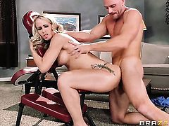 Johnny Sins is horny and cant wait no more to pound extremely sexy Simone Sonays mouth