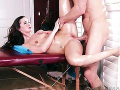 Johnny Sins explores the depth of sex crazed Lily Carters bum with his man meat