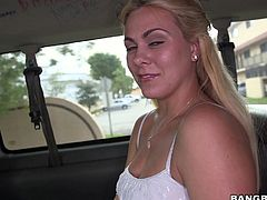 Blonde-haired Mia gets inside the bang bus not knowing what to expect, but feels quite thrilled when offered money in exchange for sexual favors. Click to see the sensual slutty babe undressing with slow movements. She seems very skillful at sucking dick. Don't miss the kinky details...