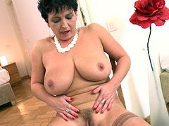 If you've got fantasies with chubby women, click to meet naughty Kaysha, a mature lady with big tits and fat ass, that likes best to play dirty with her lusty cunt. Take your time and enjoy the undressing hot scene. The short-haired slut with polished nails starts to finger her pussy with soft movements...