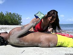 This could have been a normal day out at surfing, but Valerie is lucky to have found a guy with the kind of cock, she had long been craving for. Click to see the brunette slim babe, following the guy home, where they can have more intimacy than on the sandy beach. Watch the busty lady on knees sucking a huge dick!