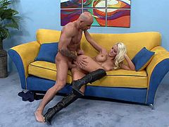 This is a hot fuck scene with a huge cock and a hot blonde pussy getting fucked hardcore doggystyle in hot orgasm.