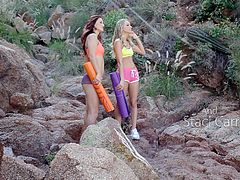 Hot chicks Karlie and Staci love to go hiking and don't really feel anything for each other. But things take a different turn, when they go out on another hike. They can't keep their emotions in check, when they touch each other's hot bodies and start groping each other. Watch these two hotties suck wet and dripping pussy in the middle of nowhere.