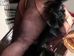 The hot BBW maid bends over the table and takes a hard cock in her tight ass.