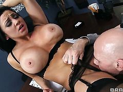 Johnny Sins makes his stiff meat stick disappear in passionate Audrey Bitonis mouth