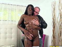 Tempestuous and lustful ebony babe, Kay Love, has stunning chocolate body and juicy round ass. She oils her butt real good, to call upon a hard white cock, so that she can have a great hardcore interracial. Guy feels and plays with her breathtaking figure, tits and butt, before getting an incredible blowjob.