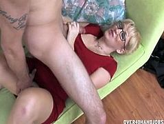 Over 40 handjobs - Alana Evans monster facial cumshot