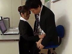 Office doll Risa Kotani Gives the blow the whistle And the Footjob till playing the penis