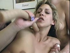 Amazing Brunettes with natural tits gets her anal fucked as she rubs Vibrator in her Pussy she receives double penetration with toy and swallows Cum