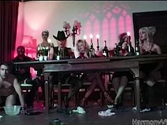 Latex wearing maid Mckenzie Lee gets fucked up the ass by the butler before engaging in some party kinky play with Alicia Rhodes and Keira. These sluts get fucked hard by guests in this house of shame.