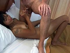 Watch this young thailand girl, who starts slowly giving head and stroking her boyfriend's balls. In the beginning she's acting shy and therefore she is pretty inefficient to his flaccid dick. But by having some patience, he knows that he'll get the best of her and final will be as he expected to be.