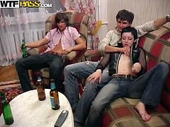 Crazy Russian orgy with horny coeds