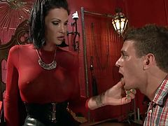 Morgan Bailey is an elegant ladyboy, who love dominating and kinky fuck fun, when she gets a guy with tight white ass. The guy loves this Goddess, kisses her feet and licks her thighs, before getting wild over her stunning boobs. Tranny gropes his cock and sets him on all fours for whipping!