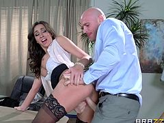 Johnny always had eyes for Stephani. That's why when the board decided, he fuck her in full view, he could not believe it! Slutty Stephani was up for action too. She makes Johnny lick her tight pussy and suck her big tits, before she lets him enter her cunt. She is a whore and it takes more than straight sex to satisfy this chick.