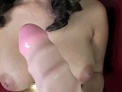 Orgasmic brunette with big breast Sunny Leone pets her twat with dildo