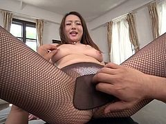 Reon Otowa is Japanese horny black head whose hairy pussy is fingered