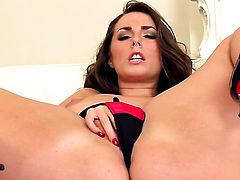 Paige Turnah with juicy boobs and shaved snatch getting down all by herself