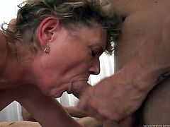 Whore grannie in stockings gives blowjob and gets fucked like dirty bitch
