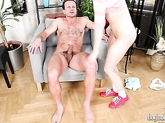 George Uhl is horny and cant wait any longer to screw perfect bodied Angel Piafs mouth