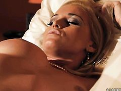 Blonde porn diva Kathia Nobili makes her sexual fantasies cum true in solo action