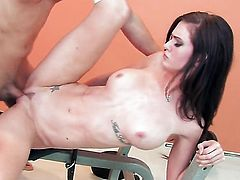 Kendall Karson with massive knockers and shaved beaver lets man put his love torpedo in her mouth