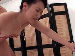 Thick facial for the pretty Asian babe he fucks