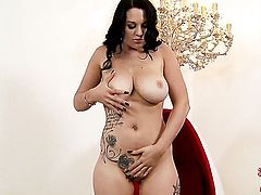 Playful minx with bubbly butt and hairless twat touches her dripping wet pussy hole in solo scene