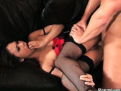 Completely cute hottie Veronica Lynn spreads for lucky fuck buddy in interracial hardcore action