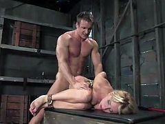 Flushing blonde bondageable chick Kelly Wells gets analfucked brutally