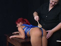Big tits redhead spanked by her master