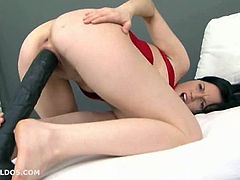 Marry Ann rubs a giant dildo between her boobs and then squeezes her breasts together over the fake cock. She sucks it hard and then shoves it into her tight pussy. What a dirty slut she is to take such a huge dildo this deep.