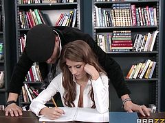 Xander does not take a lot of interest in studies, but he knows that a visit to a library can land him other kind of opportunities. Because that's where the school hottie Dillion Carter sits everyday. Xander is not in a habit of having failure from girls. So, he crawls under the desk and licks Dillion's juicy pussy, before making her suck his big and hard dick, which wants to enter her hot cunt.