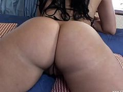 Fantastic brunette with long hair and nice ass getting superb rim job before being fucked doggystyle