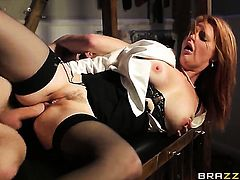 Danny D whips out his ram rod to fuck perfect bodied Tarra Whites mouth after anal sex