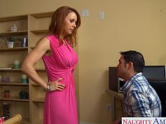 Superb busty mom in pink dress Janet Mason gets trimmed pussy licked and nailed hard