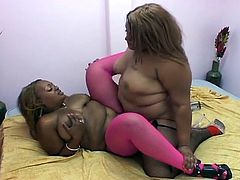There is no need for huge stiff boners as these pussy eating fat ebony lesbian whores enjoy nasty strapon fun.