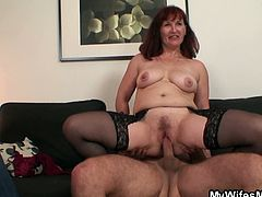 Wife watches mother inlaw rides his cock
