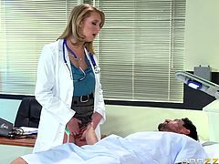Sexy blonde doctor Brooke, has come to check on her patient Tommy, whose dick is aroused in the presence of her. Seeing his dick rising under the bed-sheet, slutty doc lets his fingers slide between her pussy lips. As he pokes her pink twat, she starts to jerk his cock, before giving it a good blowjob.
