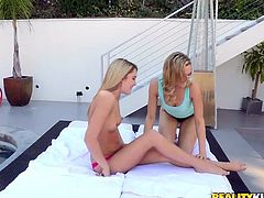 Two sweet blondes, with slim body and small tits, are having a lovely lesbian fun. Ladies get naked and rather than kissing in their sensual lips, they prefer to lick nipples and suck their pussy juice. Watch how Mia and Kenna are enjoying each other's naked body and licking pussy with pleasure.
