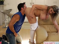 Big titted blonde mommy Sara Jay gets fucked and facialized by a young stud