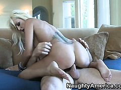 Charles Dera pulls out his boner to fuck Breanne Benson with shaved twat