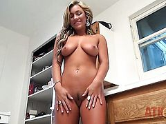 Blonde spreads her legs to fuck her thirsty muff with dildo