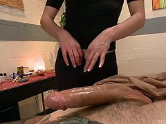 He is feeling horny, so he heads to a massage parlour for a rubdown. The sexy attendant rubs his body and makes him feel really good. She jacks him off hard and fast, and then she pulls out her own cock, so her customer can suck on it.