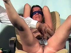 English slavegirl Shaz in electro pussy pain
