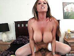 Clover admires sex starved Kianna Diors body before she takes his rod in her bush