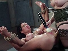 Veronica and Aiden are two very adventurous sluts and for them having sex is not just about fucking like two nice girls. They like to make things dirty and difficult for each other. Aiden ties Veronica up, to make sure her juicy cunt and big ass are sufficiently exposed. And after that, she puts her fist into her ass and makes her scream in pain. Instead Veronica just squirts.