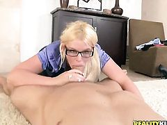 Blonde Julie Cash is in the mood for fucking and spreads for hard dicked fuck buddy Erik Everhard