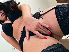 Ava is without doubt a hot presence. Her charisma stands in her provocative regard, long brown hair and sensual movements. Watch her dressed in sexy black lingerie. This babe surely knows to express her femininity. Click to watch her masturbating. Enjoy the show!