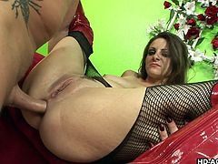 Nikki, in torn fishnet and latex high heel boots is deeply throated, while getting herself filled with anal beads. Later, babe gets her wet twat fucked from behind and her partner's cock bashed her tight ass with immense pleasure. Bitch spreads legs like a whore, and gets anal'd in reverse cowgirl!