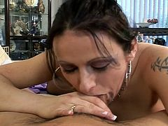 Watch this hot brunette milf get herself a piece of young Asian cock in this free tube video.